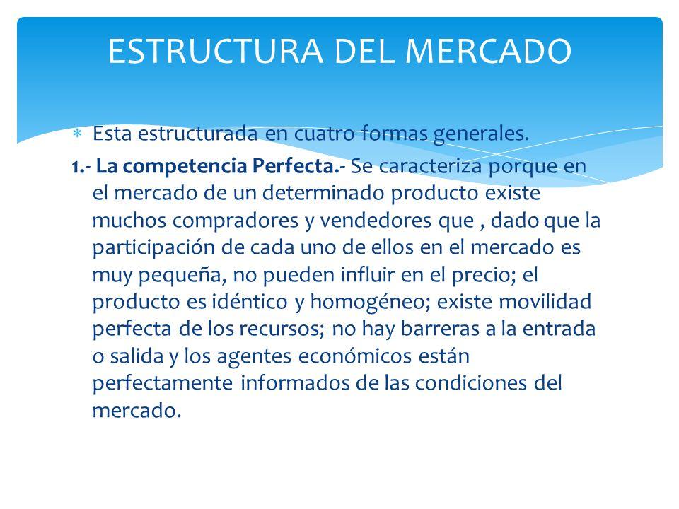 Esta estructurada en cuatro formas generales. 1.- La competencia Perfecta.- Se caracteriza porque en el mercado de un determinado producto existe much