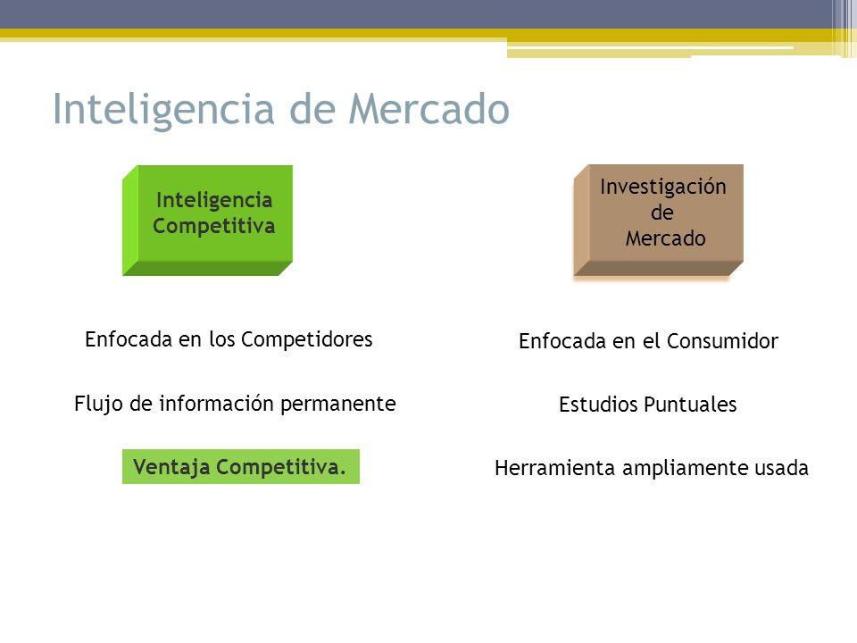 Inteligencia de Mercado Enfocada en el Consumidor Enfocada en los Competidores Estudios Puntuales Flujo de información permanente Herramienta ampliame
