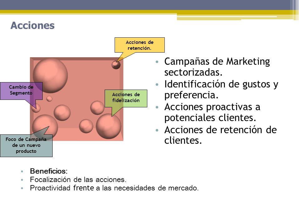 Acciones Beneficios: Focalización de las acciones. Proactividad frente a las necesidades de mercado. Campañas de Marketing sectorizadas. Identificació