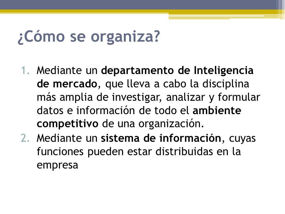 ¿Cómo se organiza? 1.Mediante un departamento de Inteligencia de mercado, que lleva a cabo la disciplina más amplia de investigar, analizar y formular