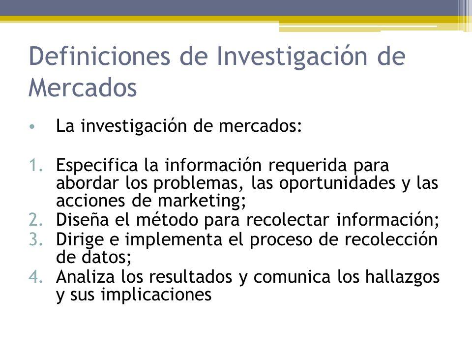 Definiciones de Investigación de Mercados La investigación de mercados: 1.Especifica la información requerida para abordar los problemas, las oportuni