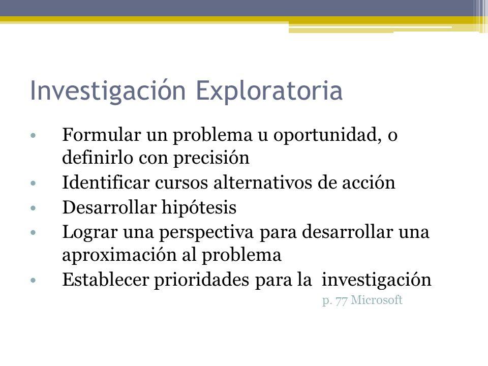 Investigación Exploratoria Formular un problema u oportunidad, o definirlo con precisión Identificar cursos alternativos de acción Desarrollar hipótes