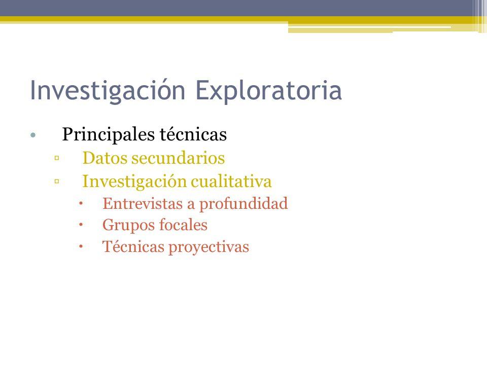 Investigación Exploratoria Principales técnicas Datos secundarios Investigación cualitativa Entrevistas a profundidad Grupos focales Técnicas proyecti