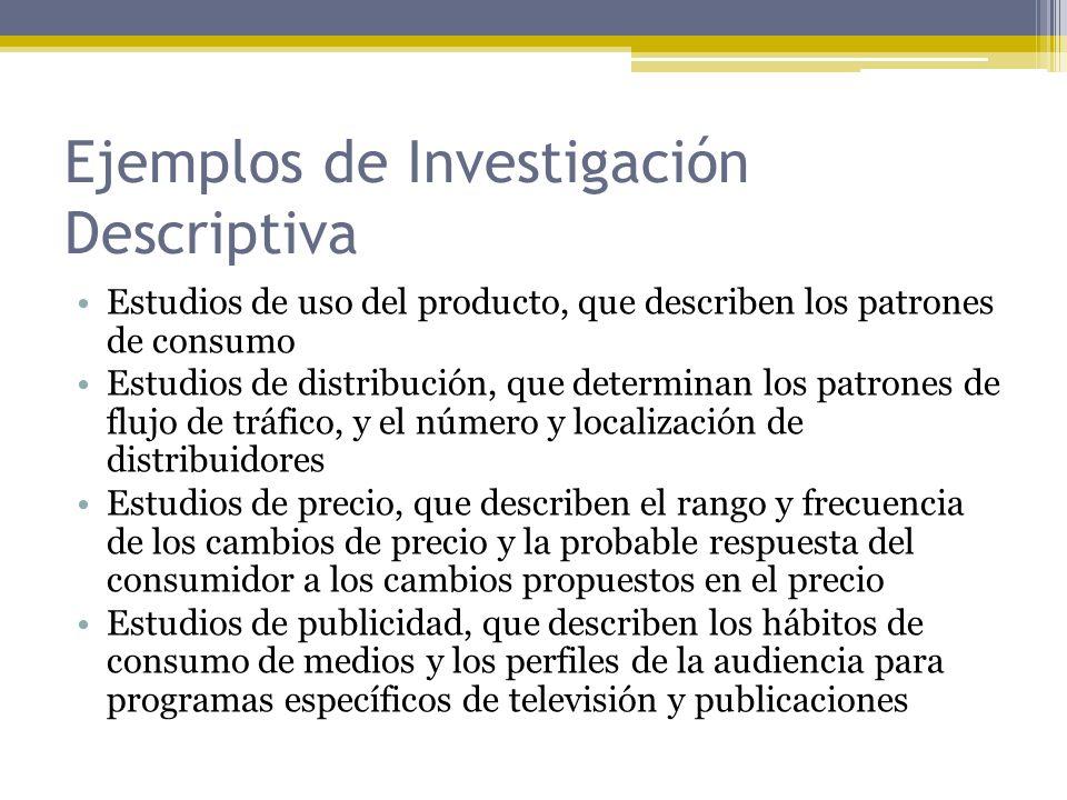 Ejemplos de Investigación Descriptiva Estudios de uso del producto, que describen los patrones de consumo Estudios de distribución, que determinan los