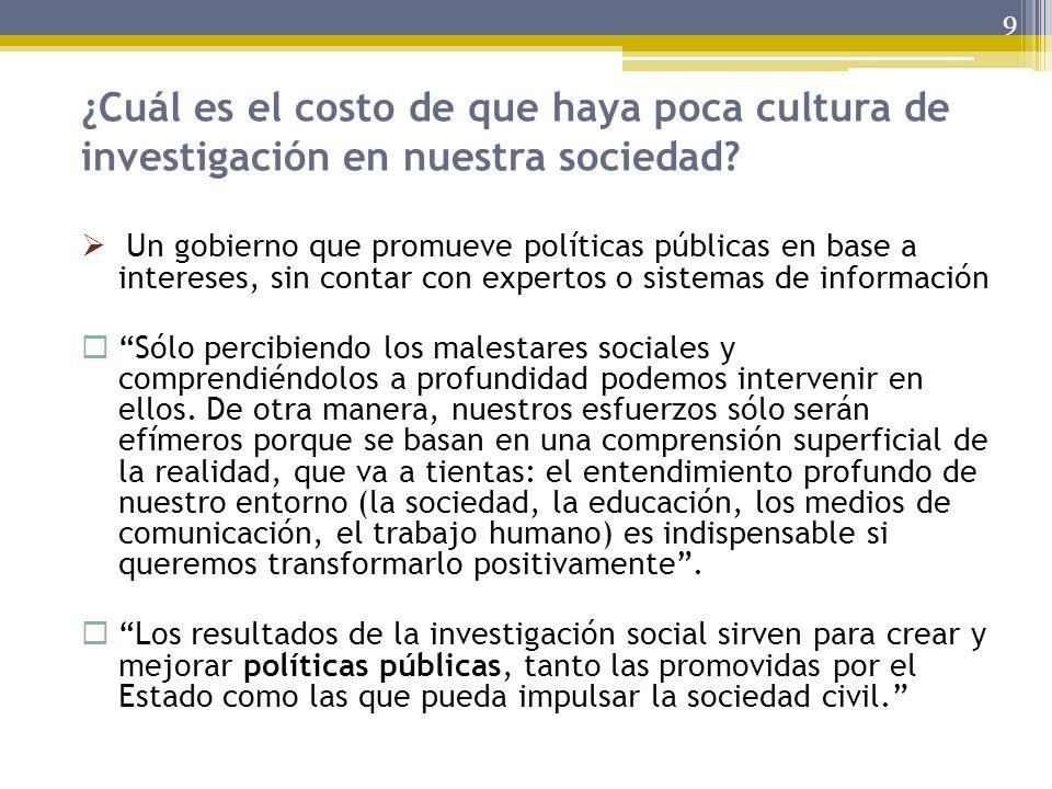 ¿Cuál es el costo de que haya poca cultura de investigación en nuestra sociedad? 9 Un gobierno que promueve políticas públicas en base a intereses, si