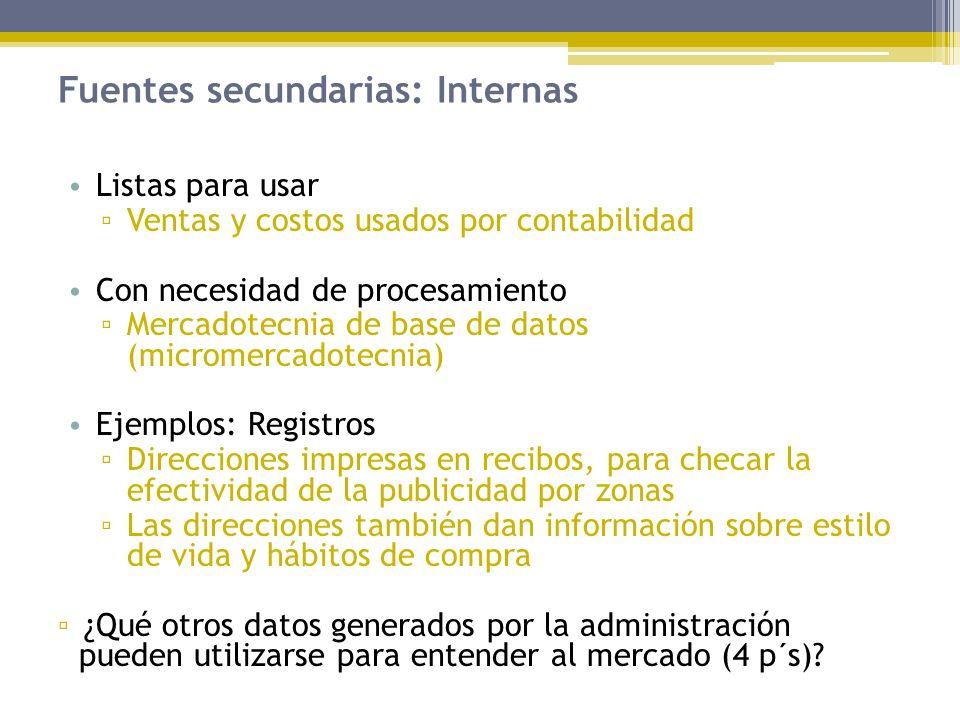 Fuentes secundarias: Internas Listas para usar Ventas y costos usados por contabilidad Con necesidad de procesamiento Mercadotecnia de base de datos (