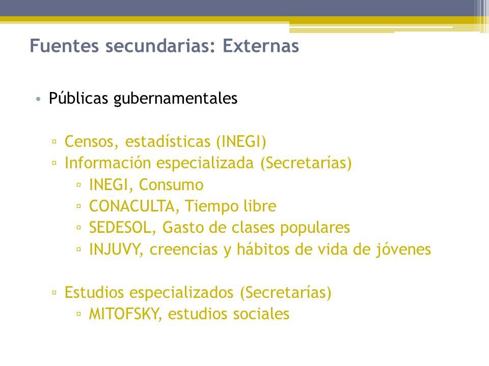Fuentes secundarias: Externas Públicas gubernamentales Censos, estadísticas (INEGI) Información especializada (Secretarías) INEGI, Consumo CONACULTA,