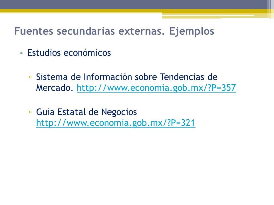 Fuentes secundarias externas. Ejemplos Estudios económicos Sistema de Información sobre Tendencias de Mercado. http://www.economia.gob.mx/?P=357http:/