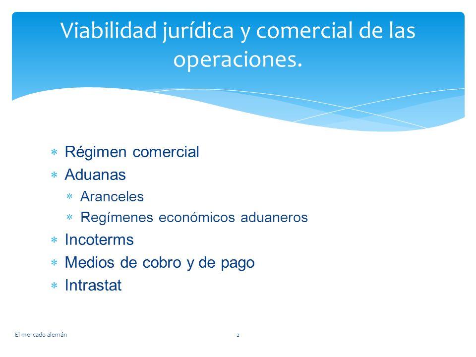 Viabilidad jurídica y comercial de las operaciones. Régimen comercial Aduanas Aranceles Regímenes económicos aduaneros Incoterms Medios de cobro y de