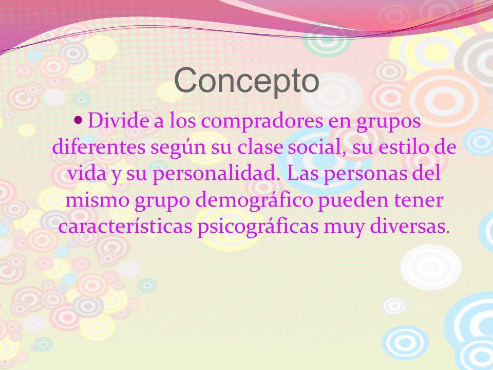 Concepto Divide a los compradores en grupos diferentes según su clase social, su estilo de vida y su personalidad. Las personas del mismo grupo demogr