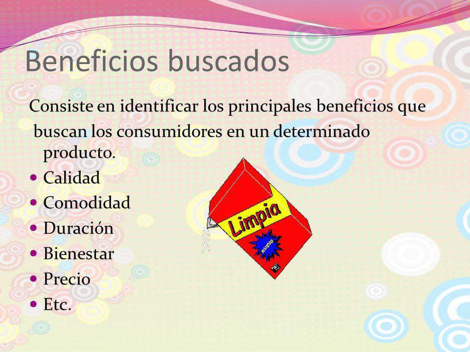 Beneficios buscados Consiste en identificar los principales beneficios que buscan los consumidores en un determinado producto. Calidad Comodidad Durac