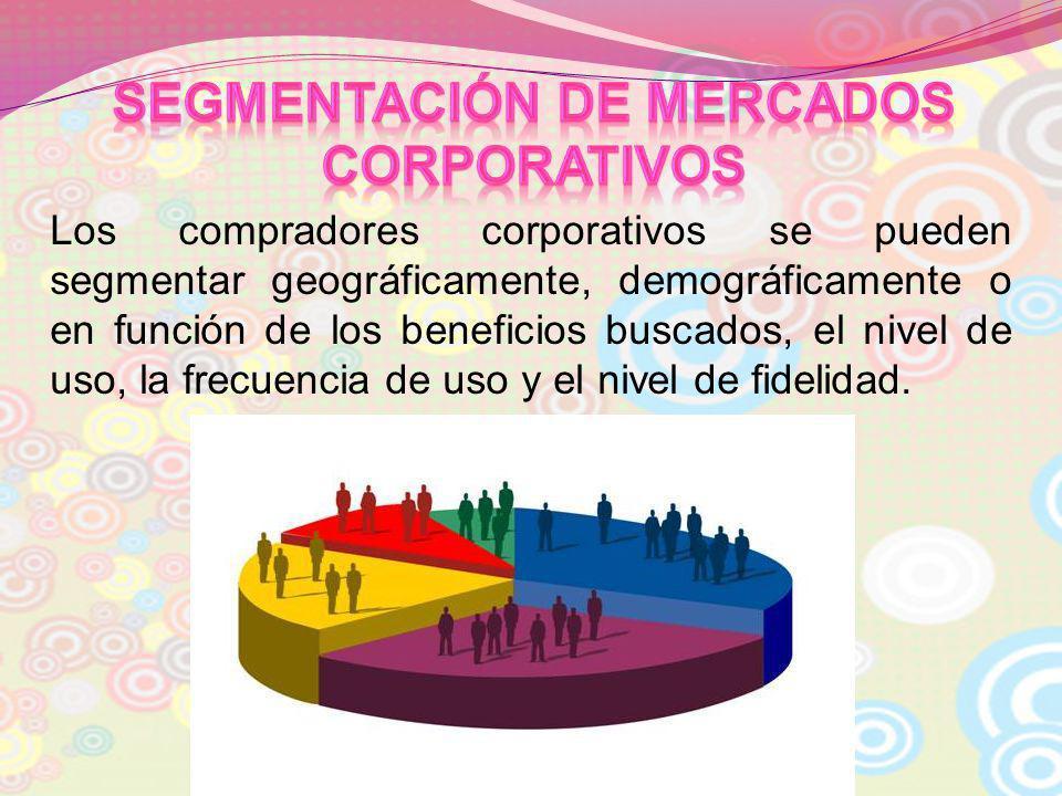 Los compradores corporativos se pueden segmentar geográficamente, demográficamente o en función de los beneficios buscados, el nivel de uso, la frecue