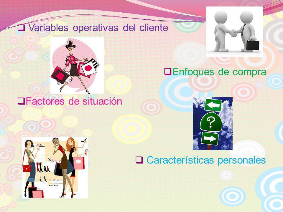 Variables operativas del cliente Enfoques de compra Factores de situación Características personales