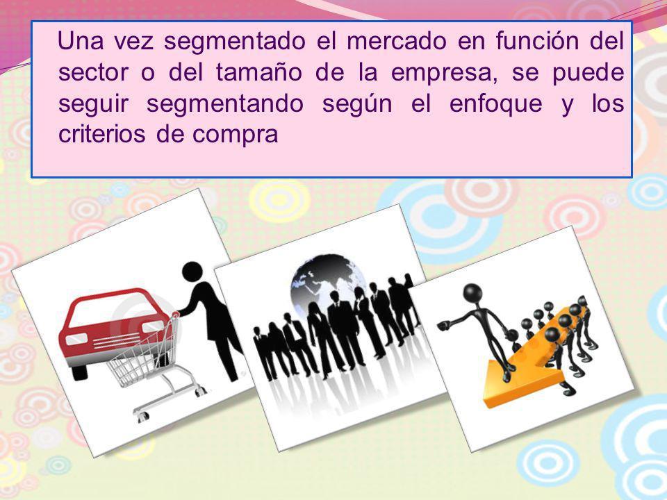 Una vez segmentado el mercado en función del sector o del tamaño de la empresa, se puede seguir segmentando según el enfoque y los criterios de compra