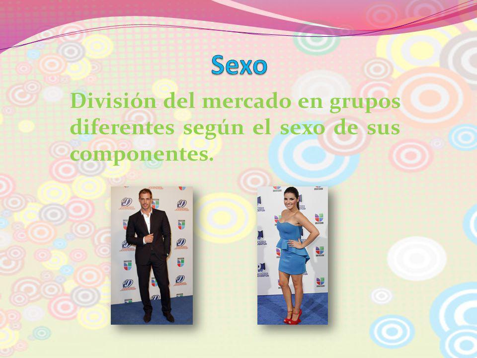 División del mercado en grupos diferentes según el sexo de sus componentes.