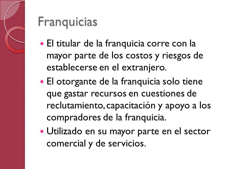 Franquicias El titular de la franquicia corre con la mayor parte de los costos y riesgos de establecerse en el extranjero. El otorgante de la franquic