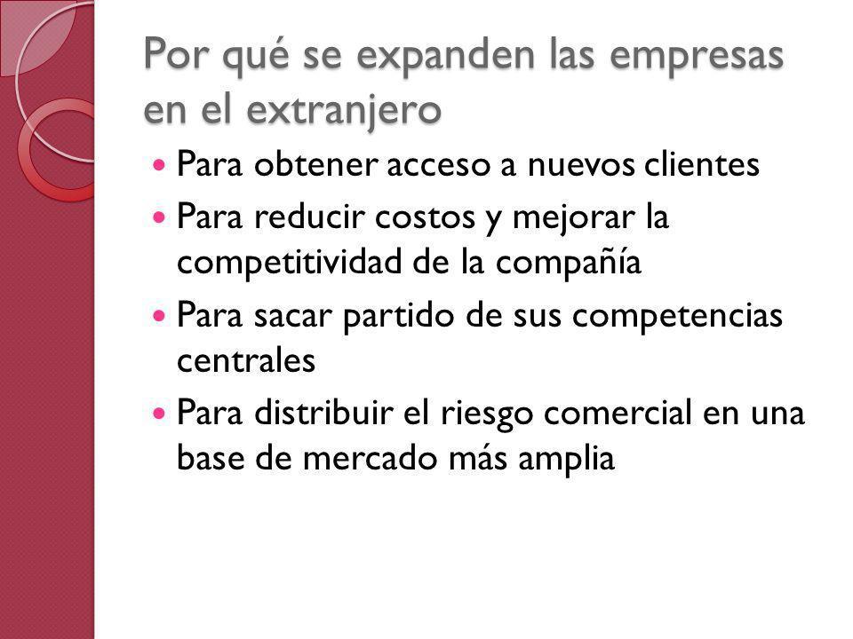 Por qué se expanden las empresas en el extranjero Para obtener acceso a nuevos clientes Para reducir costos y mejorar la competitividad de la compañía
