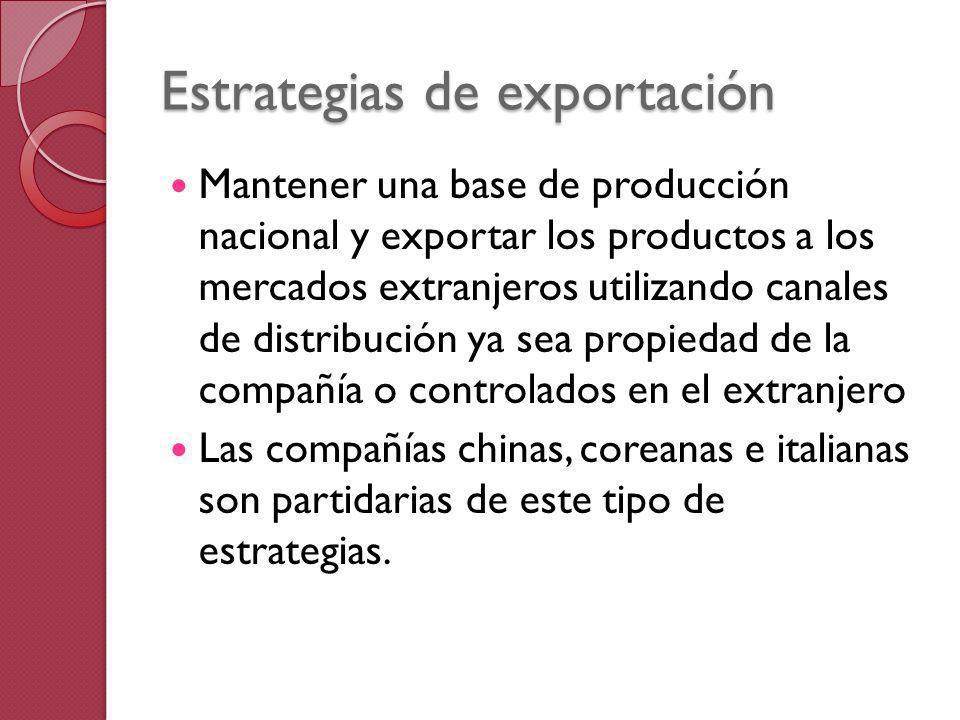 Estrategias de exportación Mantener una base de producción nacional y exportar los productos a los mercados extranjeros utilizando canales de distribu