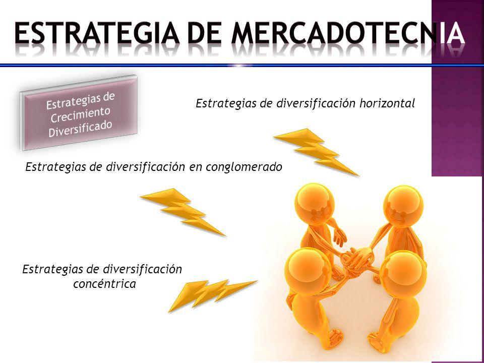 Estrategias de diversificación horizontal Estrategias de diversificación en conglomerado Estrategias de diversificación concéntrica