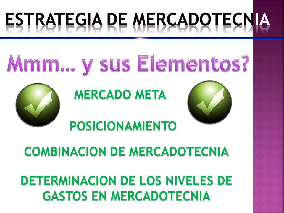 MERCADO META POSICIONAMIENTO COMBINACION DE MERCADOTECNIA DETERMINACION DE LOS NIVELES DE GASTOS EN MERCADOTECNIA