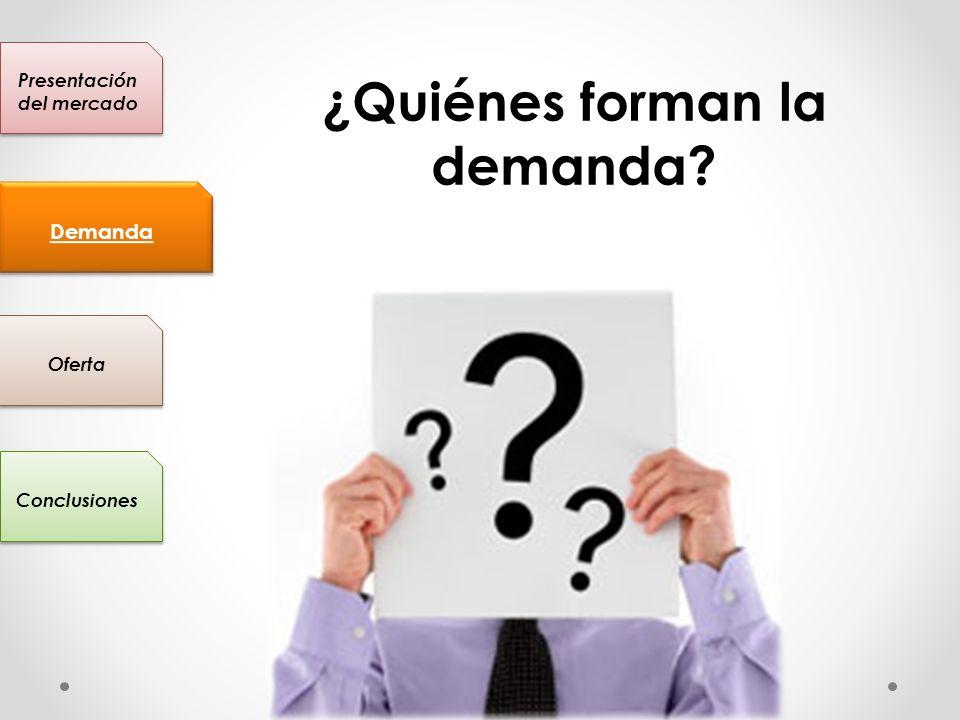 Presentación del mercado Conclusiones Oferta Demanda ¿Quiénes forman la demanda?
