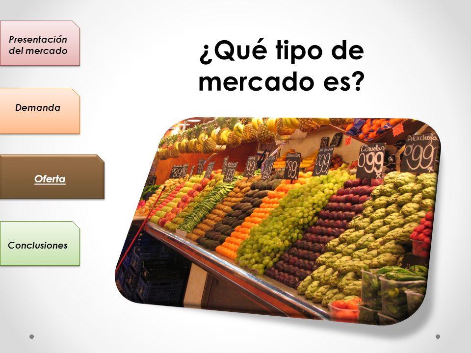 Presentación del mercado Conclusiones Oferta Demanda ¿Qué tipo de mercado es?