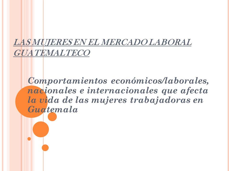 L A COEXISTENCIA DE LAS MUJERES La crisis económica mundial como afecta a la sociedad guatemalteca.