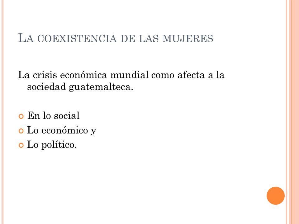 L A COEXISTENCIA DE LAS MUJERES La crisis económica mundial como afecta a la sociedad guatemalteca. En lo social Lo económico y Lo político.