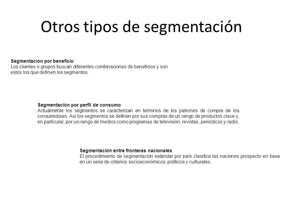 Otros tipos de segmentación Segmentación por beneficio Los clientes o grupos buscan diferentes combinaciones de beneficios y son estos los que definen
