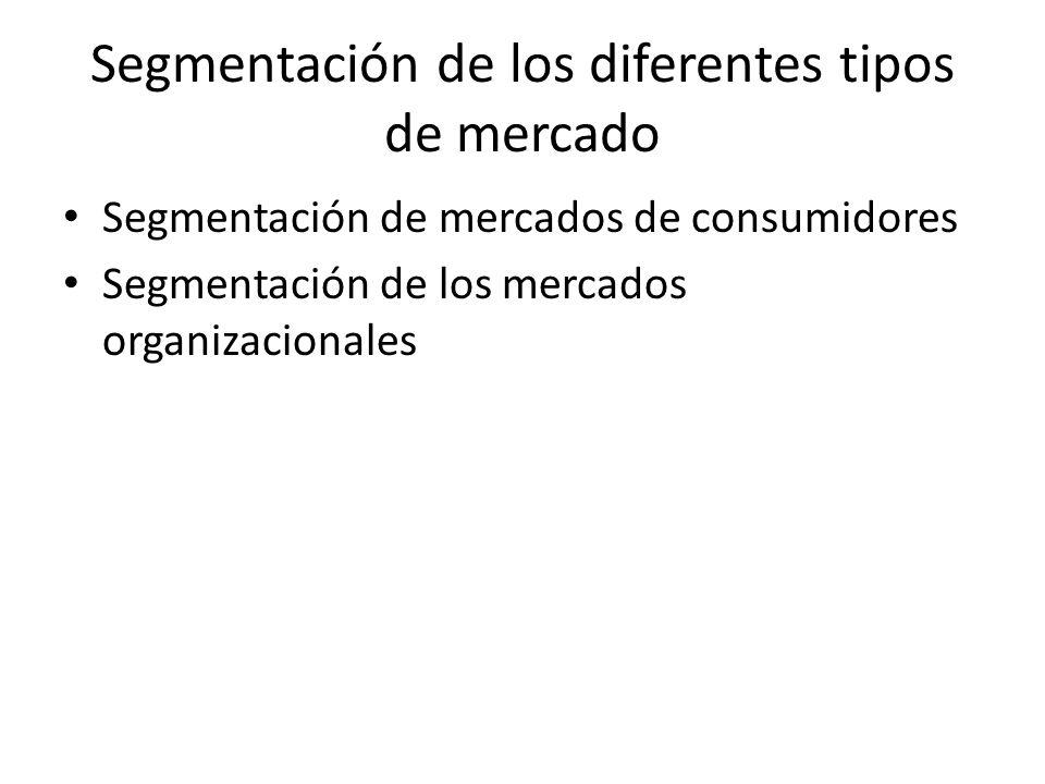 Segmentación de los diferentes tipos de mercado Segmentación de mercados de consumidores Segmentación de los mercados organizacionales