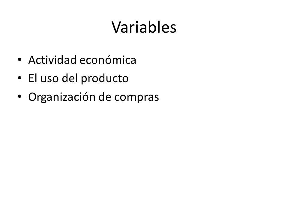 Variables Actividad económica El uso del producto Organización de compras