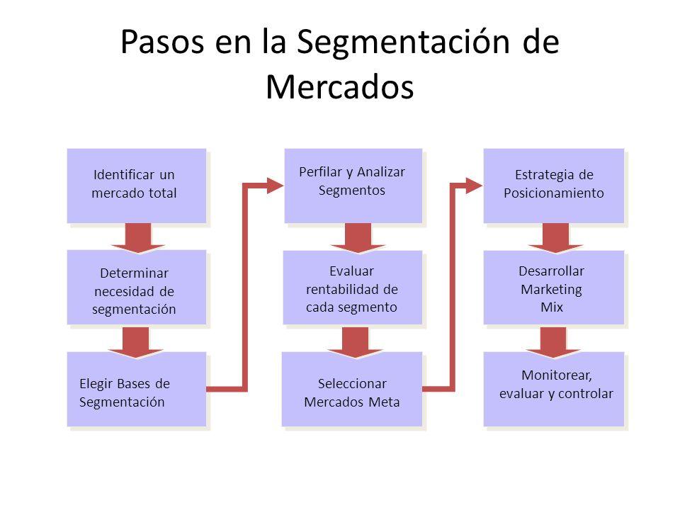 Pasos en la Segmentación de Mercados Identificar un mercado total Elegir Bases de Segmentación Estrategia de Posicionamiento Perfilar y Analizar Segme