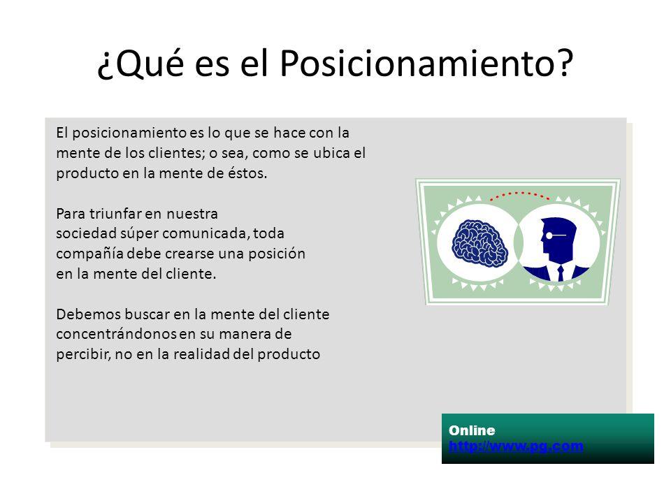 ¿Qué es el Posicionamiento? Online http://www.pg.com El posicionamiento es lo que se hace con la mente de los clientes; o sea, como se ubica el produc