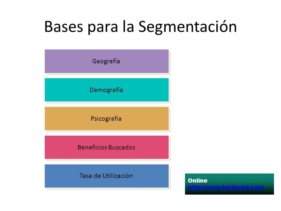 Bases para la Segmentación Tasa de Utilización Beneficios Buscados Psicografía Demografía Geografía Online http://www.toofaced.com