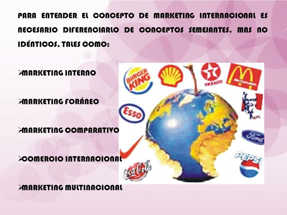 PARA ENTENDER EL CONCEPTO DE MARKETING INTERNACIONAL ES NECESARIO DIFERENCIARLO DE CONCEPTOS SEMEJANTES, MAS NO IDÉNTICOS, TALES COMO: MARKETING INTER