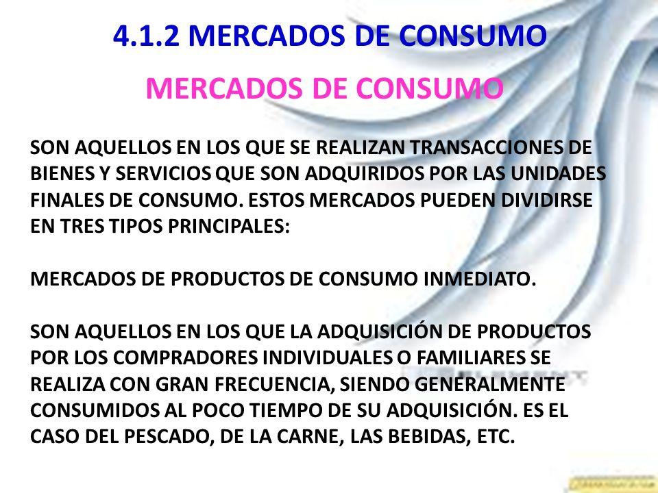 4.1.2 MERCADOS DE CONSUMO MERCADOS DE CONSUMO SON AQUELLOS EN LOS QUE SE REALIZAN TRANSACCIONES DE BIENES Y SERVICIOS QUE SON ADQUIRIDOS POR LAS UNIDA