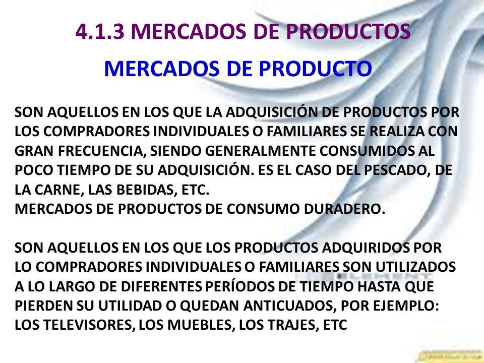 4.1.3 MERCADOS DE PRODUCTOS MERCADOS DE PRODUCTO SON AQUELLOS EN LOS QUE LA ADQUISICIÓN DE PRODUCTOS POR LOS COMPRADORES INDIVIDUALES O FAMILIARES SE