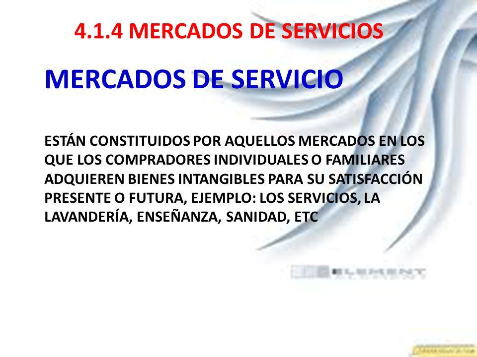 4.1.4 MERCADOS DE SERVICIOS MERCADOS DE SERVICIO ESTÁN CONSTITUIDOS POR AQUELLOS MERCADOS EN LOS QUE LOS COMPRADORES INDIVIDUALES O FAMILIARES ADQUIER