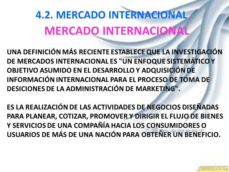 4.2. MERCADO INTERNACIONAL MERCADO INTERNACIONAL UNA DEFINICIÓN MÁS RECIENTE ESTABLECE QUE LA INVESTIGACIÓN DE MERCADOS INTERNACIONAL ES
