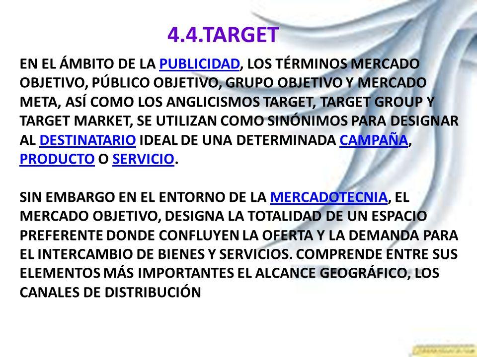 4.4.TARGET EN EL ÁMBITO DE LA PUBLICIDAD, LOS TÉRMINOS MERCADO OBJETIVO, PÚBLICO OBJETIVO, GRUPO OBJETIVO Y MERCADO META, ASÍ COMO LOS ANGLICISMOS TAR