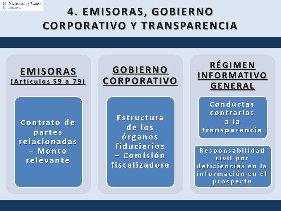 4. EMISORAS, GOBIERNO CORPORATIVO Y TRANSPARENCIA EMISORAS (Artículos 59 a 79) Contrato de partes relacionadas – Monto relevante GOBIERNO CORPORATIVO