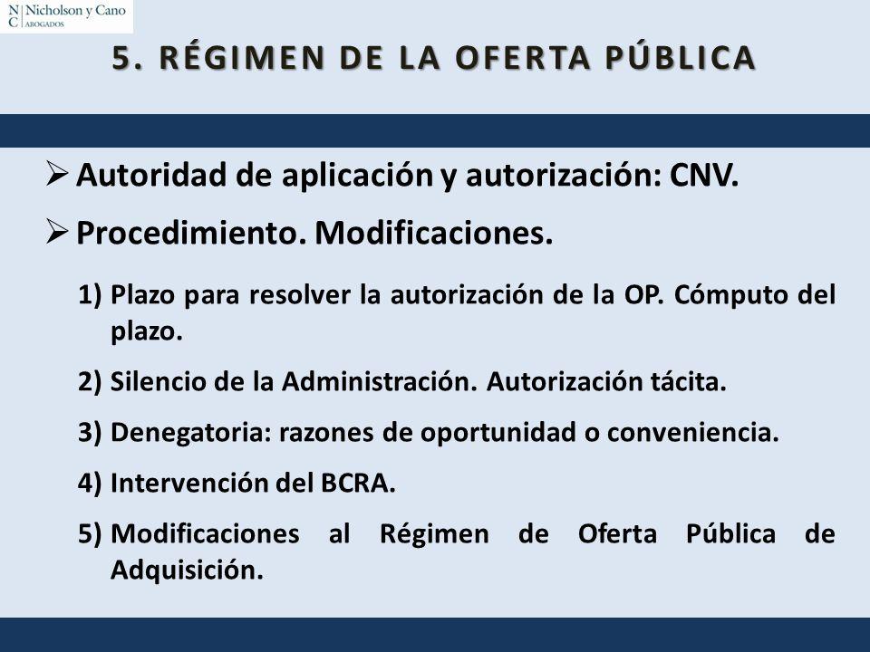 5. RÉGIMEN DE LA OFERTA PÚBLICA Autoridad de aplicación y autorización: CNV. Procedimiento. Modificaciones. 1)Plazo para resolver la autorización de l
