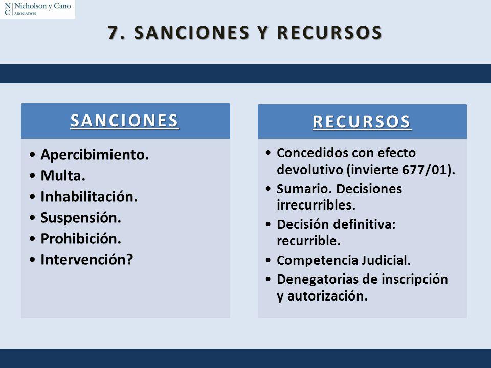 7. SANCIONES Y RECURSOS SANCIONES Apercibimiento. Multa. Inhabilitación. Suspensión. Prohibición. Intervención? RECURSOS Concedidos con efecto devolut
