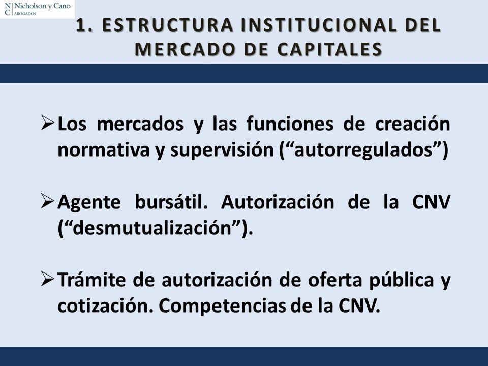 Los mercados y las funciones de creación normativa y supervisión (autorregulados) Agente bursátil. Autorización de la CNV (desmutualización). Trámite