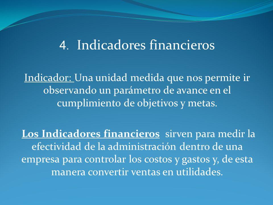 4. Indicadores financieros Indicador: Una unidad medida que nos permite ir observando un parámetro de avance en el cumplimiento de objetivos y metas.