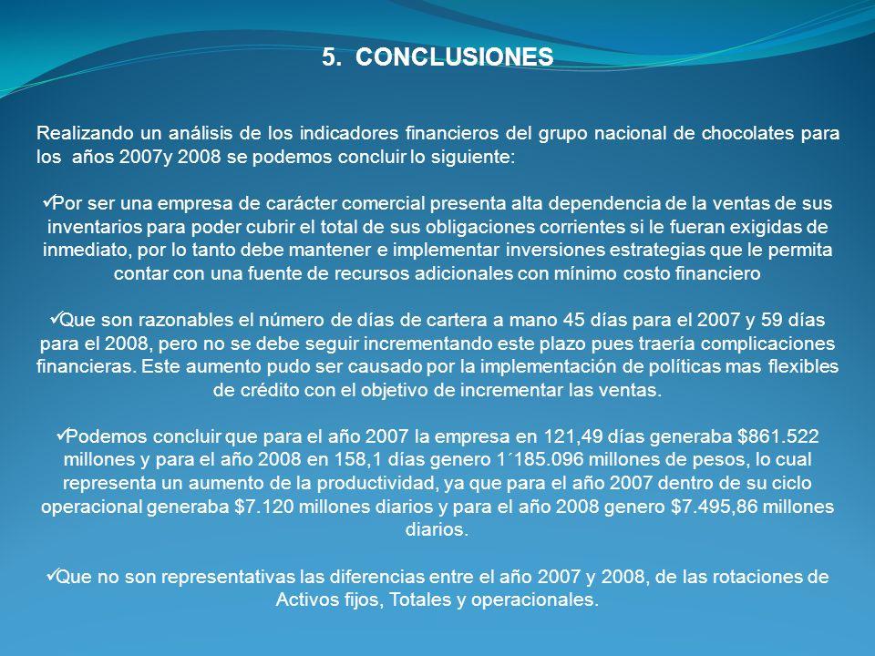 5. CONCLUSIONES Realizando un análisis de los indicadores financieros del grupo nacional de chocolates para los años 2007y 2008 se podemos concluir lo
