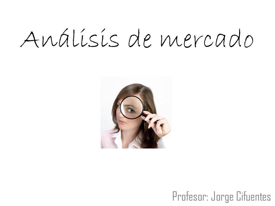 Análisis de mercado Profesor: Jorge Cifuentes
