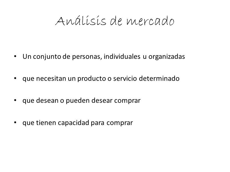 Análisis de mercado Un conjunto de personas, individuales u organizadas que necesitan un producto o servicio determinado que desean o pueden desear co