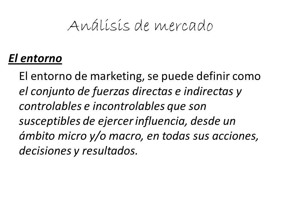 Análisis de mercado El entorno El entorno de marketing, se puede definir como el conjunto de fuerzas directas e indirectas y controlables e incontrola