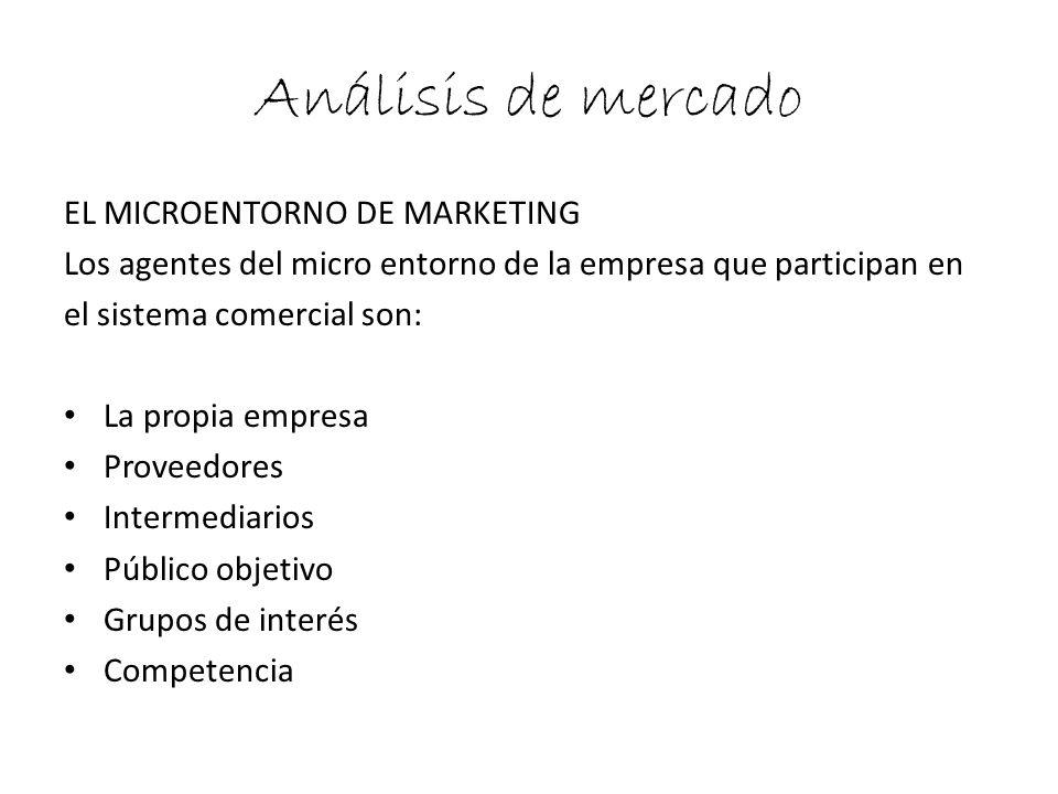Análisis de mercado EL MICROENTORNO DE MARKETING Los agentes del micro entorno de la empresa que participan en el sistema comercial son: La propia emp